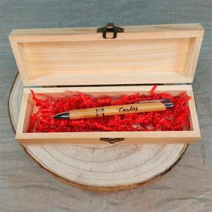 Boligrafo y estuche madera b